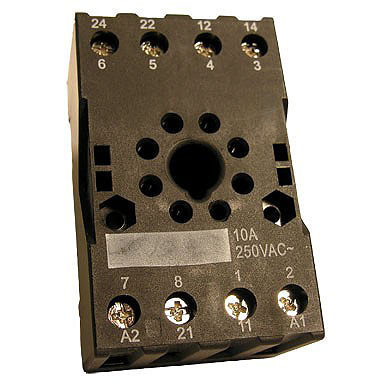 Octal Relay Socket, DIN rail or surface mounting