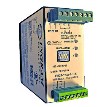 IS Relay,2 chan.,120VAC,DIN rail mnt,10K Ohm sense