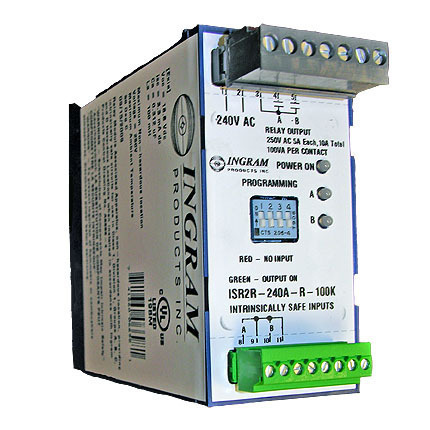 IS Relay,2 chan.,240VAC,DIN rail,100K sense