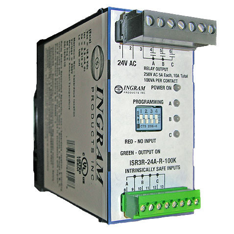 IS Relay,3 chan.,120VAC,DIN rail,100K sense