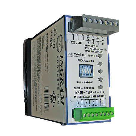 IS Relay,4 chan.,Latch,120VAC,DIN rail,10K sense